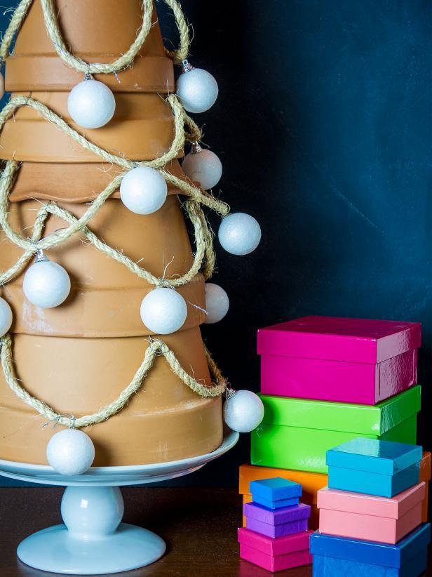clay pot alternative christmas tree idea tutorial diy