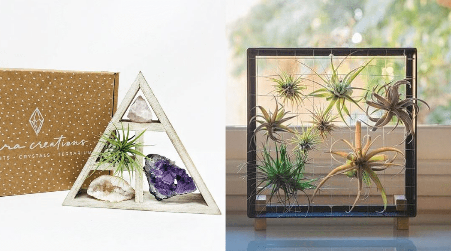 Triangle display shelf, metal wire frame for air plants