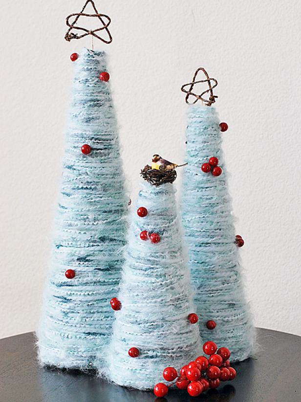 yarn tabletop christmas tree diy tutorial