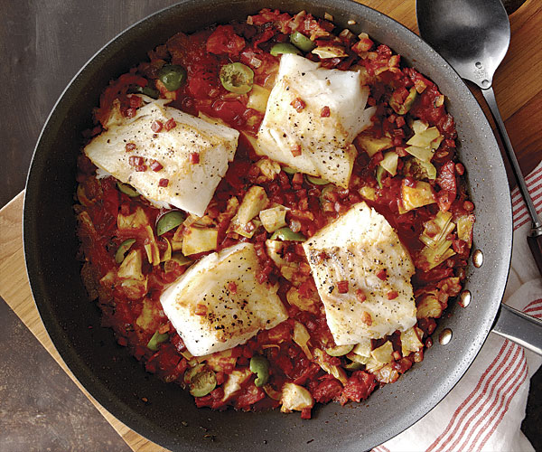 cod with pancetta artichokes and olives finecooking.com