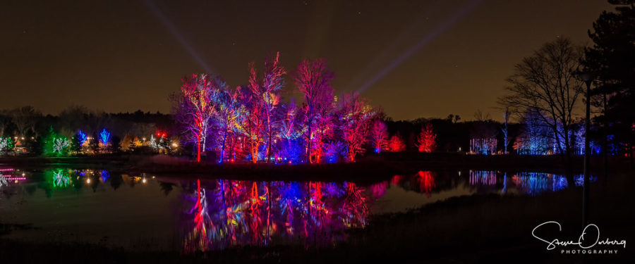 View across Meadow Lake of the Illumination lights at Morton Arboretum, Lisle, IL