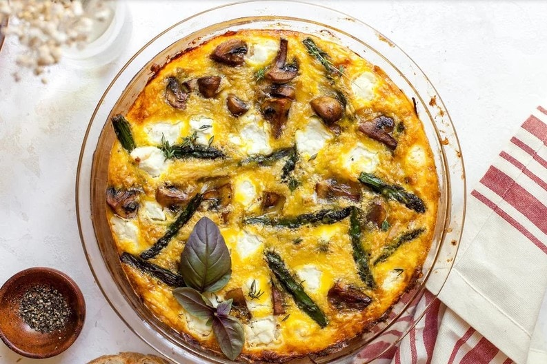 Asparagus, Mushroom, and Goat Cheese Quiche with Spaghetti Squash Crust recipe