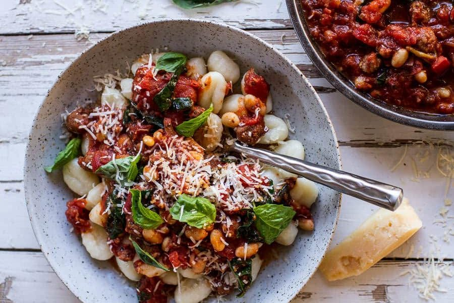 white bean sausage ragu crock pot slow cooker recipe