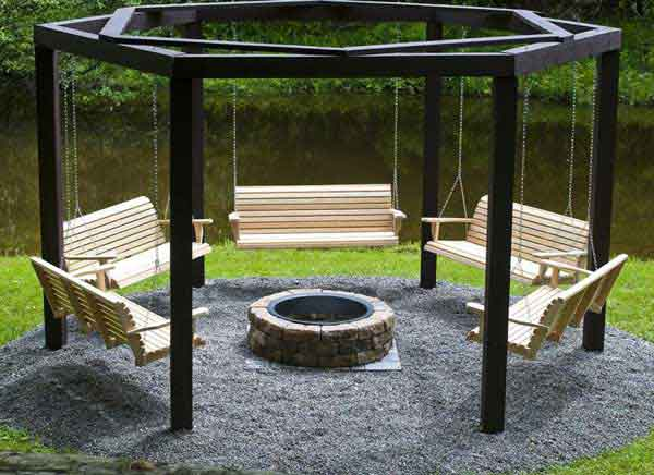 fire pit with swings for seating ideas winter