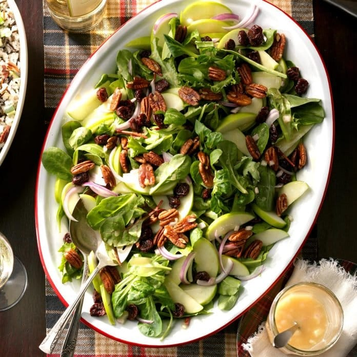 winter salad with dried fruit and seasonal vegetables recipe