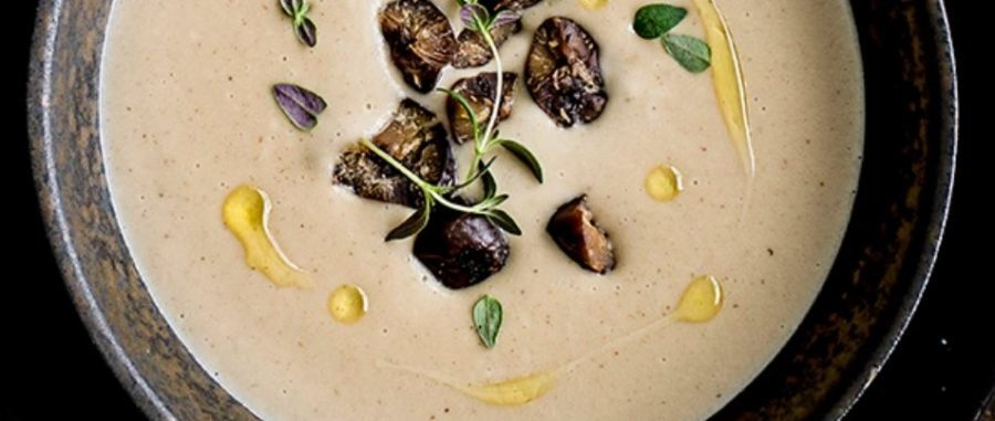 Roast jerusalem artichoke, chestnut and thyme soup