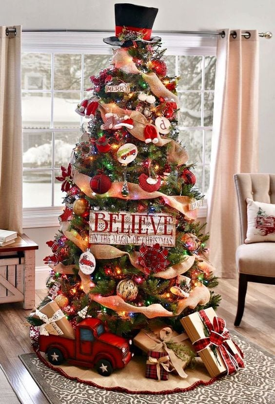 traditional red decor with old-fashioned flair christmas tree