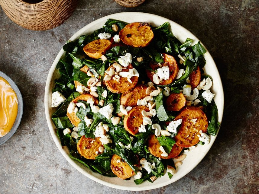 Shredded Collard Green Salad With Roasted Sweet Potatoes winter salad vegan recipe