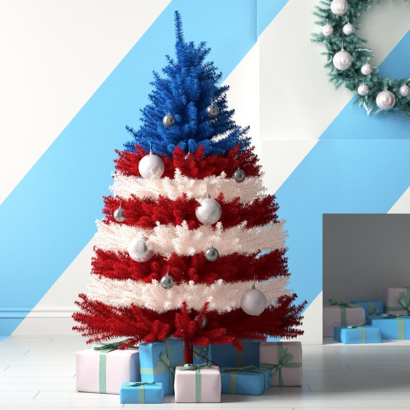 red and blue tree for christmas idea