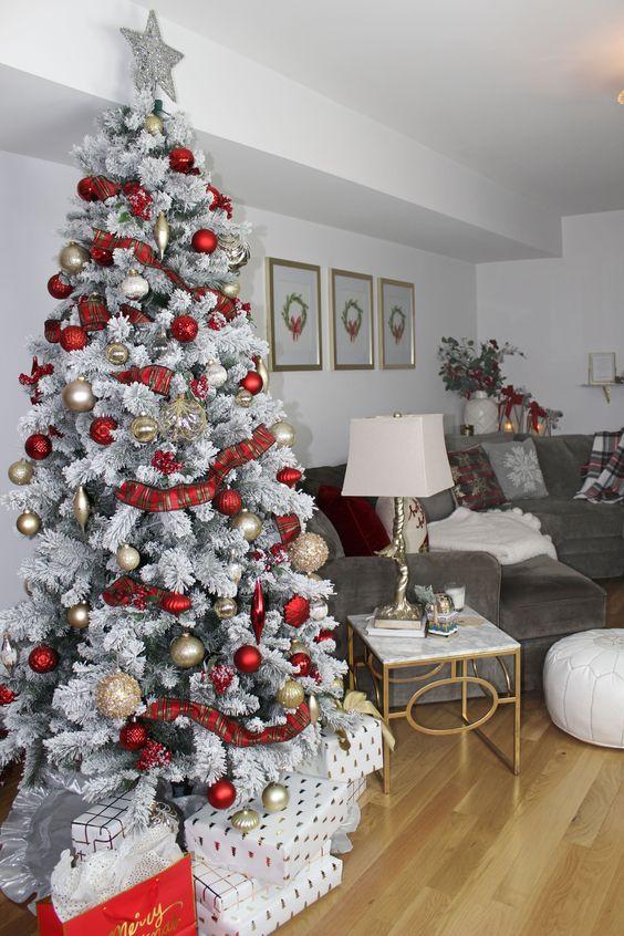 silver tree with red decor idea