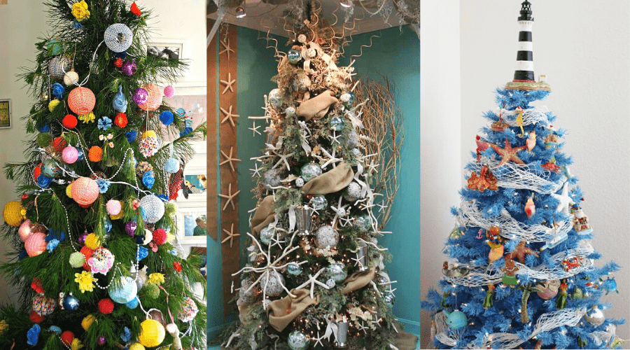 beachside themed decorated year round trees