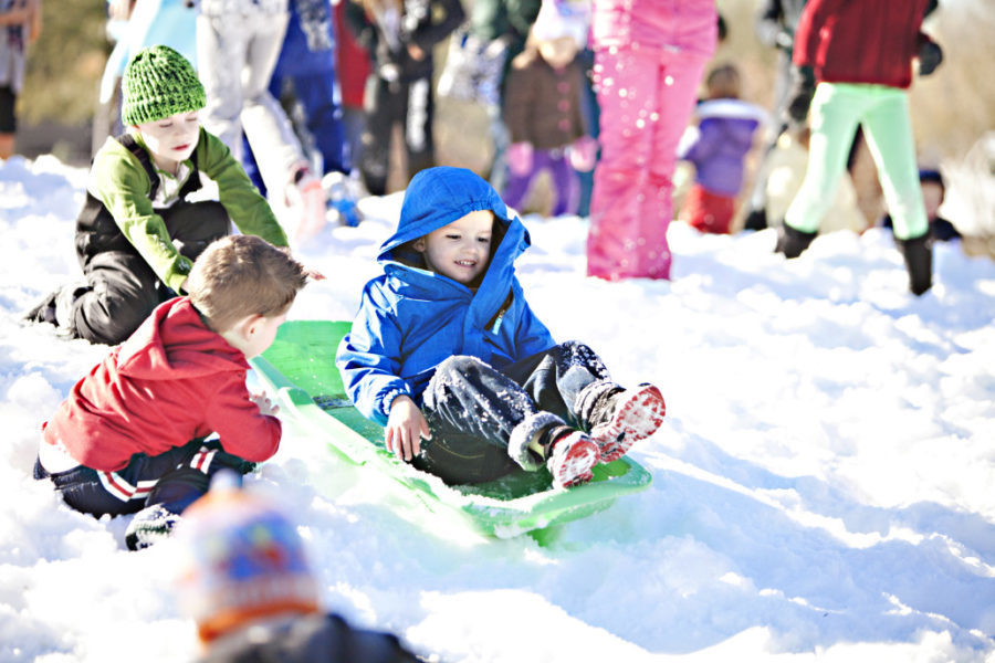 boys sledding in crowded park in bright sunshine and snow