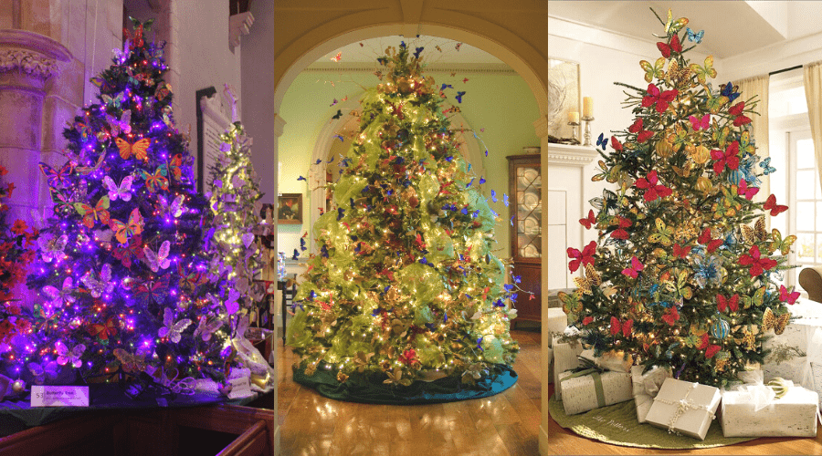 christmas and spring trees decorated in butterfly ornaments