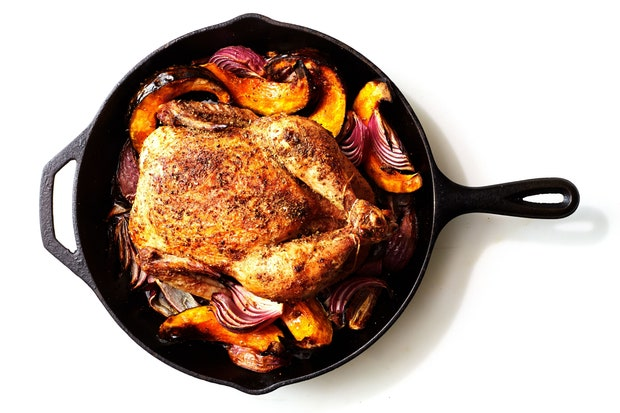 cast iron chicken with winter squash and pancetta recipe