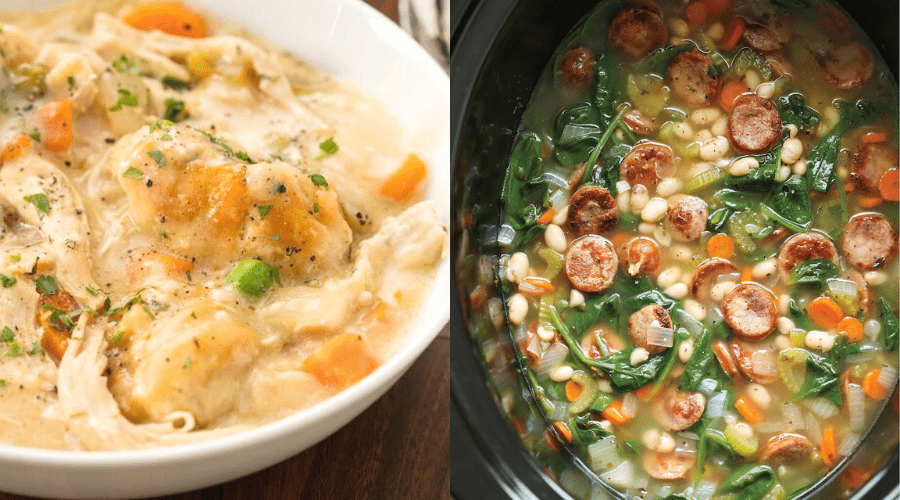 winter soups crockpot recipes chicken and dumplings and sausage and white bean soup