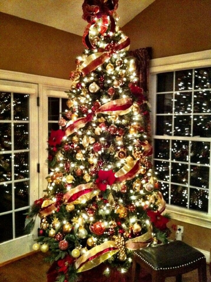 elegant red and gold christmas tree theme idea