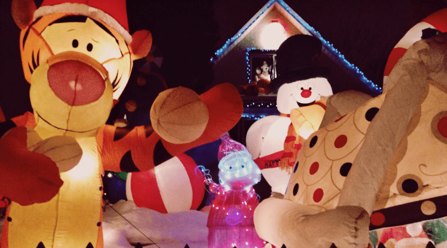 giant inflatable tigger snowman lighted santa