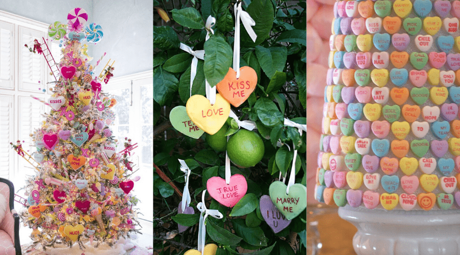 valentine's day year round tree ideas featuring conversation hearts