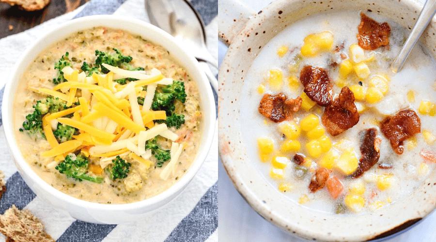 winter soup recipes crock pot broccoli cheese and corn chowder