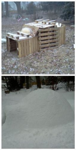 a snow fort made out of wooden pallets