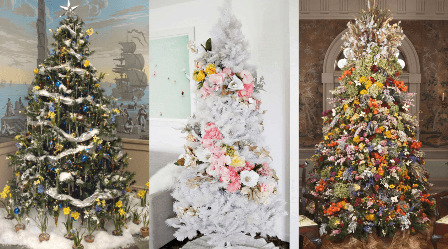 floral trees in three styles
