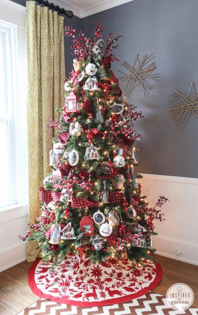 rustic red christmas tree ideas