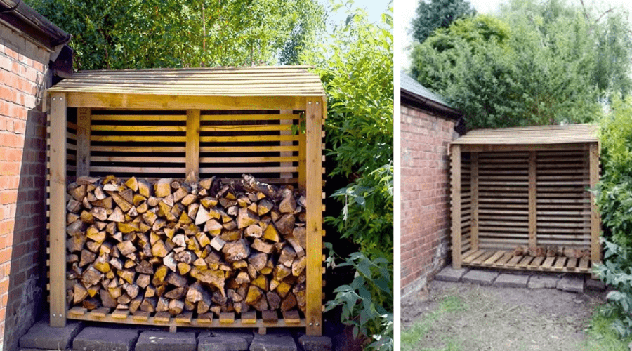 log store with and without firewood little house on the corner DIY plans