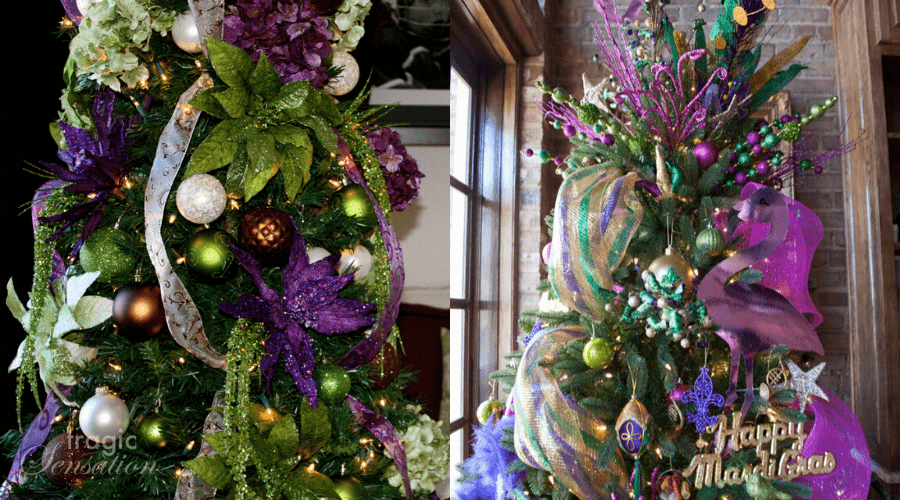 mardi gras trees in green gold purple decoration