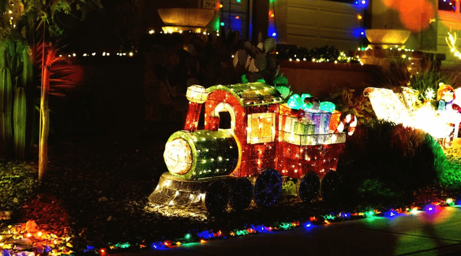 motorized christmas decoration outdoor lighted train display