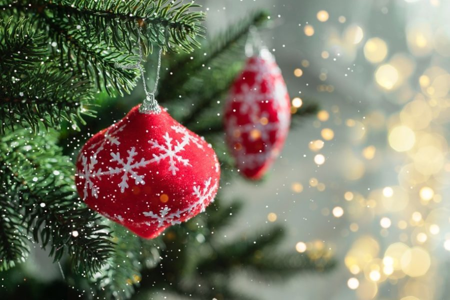 christmas tree artificila closeup realistic decorated