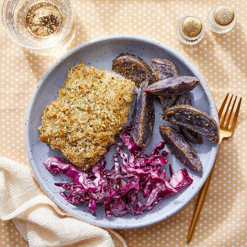 parm and panko crusted cod with purple potatoes blue apron