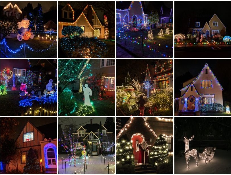 sample of displays on peacock lane portland lights tour