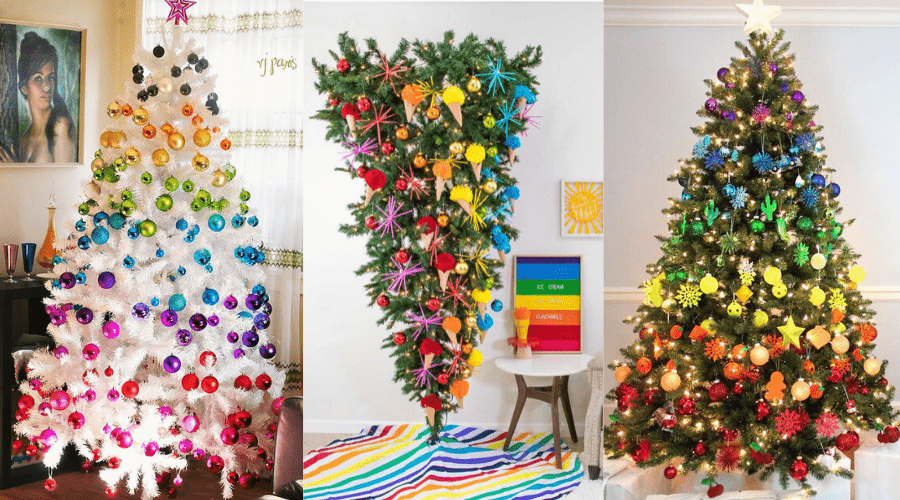 rainbow themed year round trees