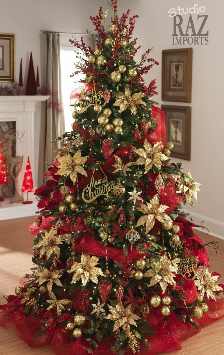 traditionally decorated tree with red and gold idea