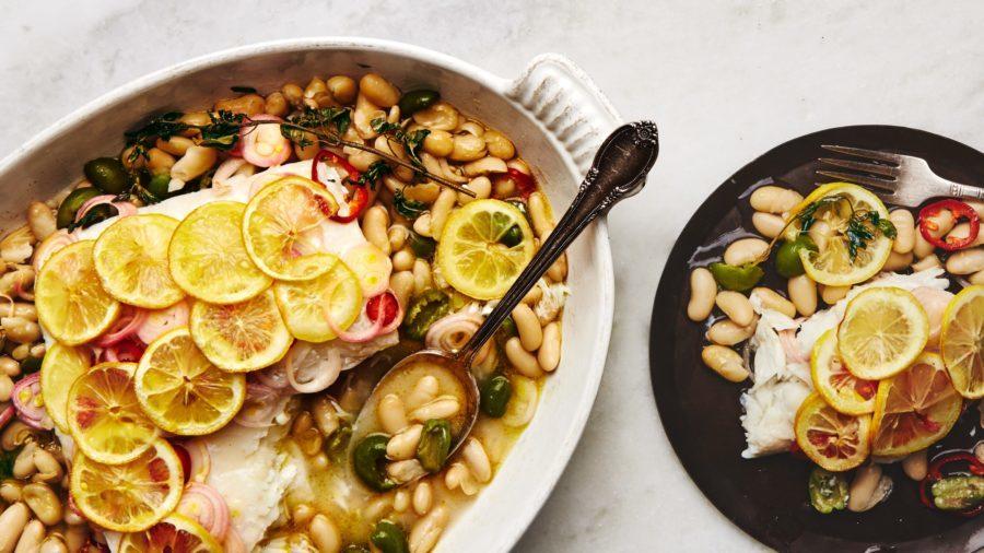roast fish cennelini beans