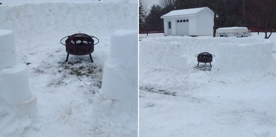snow fort fire pirt ideas for fire pits in winter