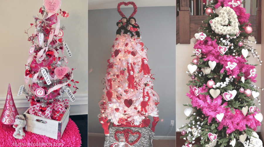 Valentine's Day themed Christmas Trees
