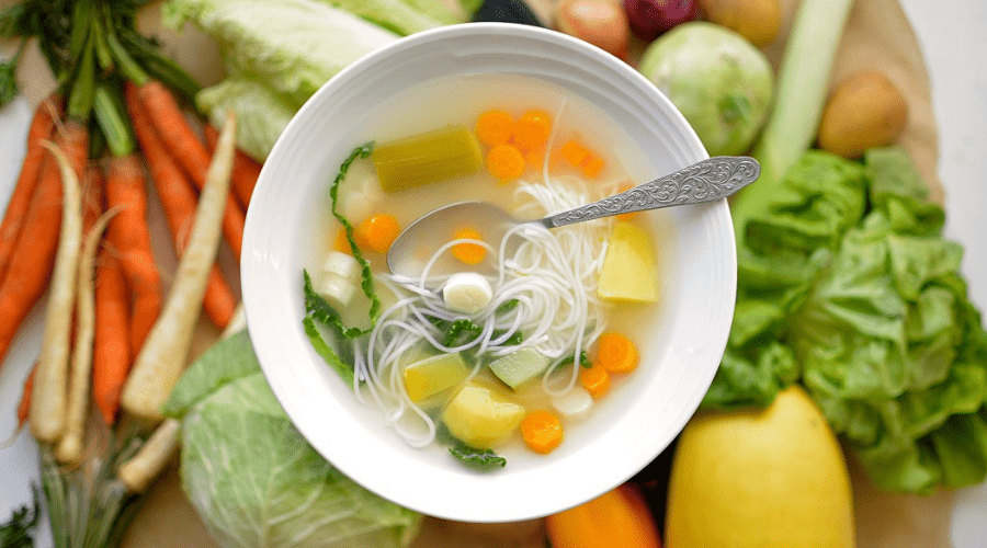 vegetarian soup with noodles horizontal