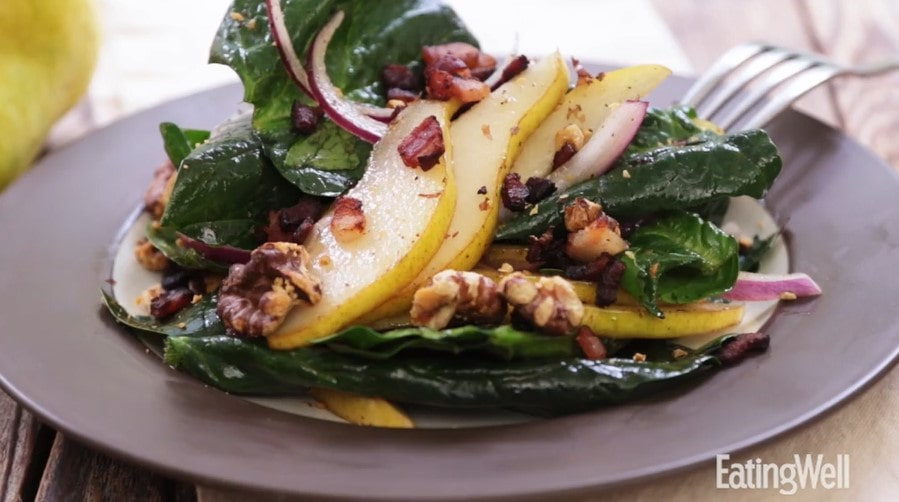 warm pear and spinach salad with maple bacon vinaigrette recipe