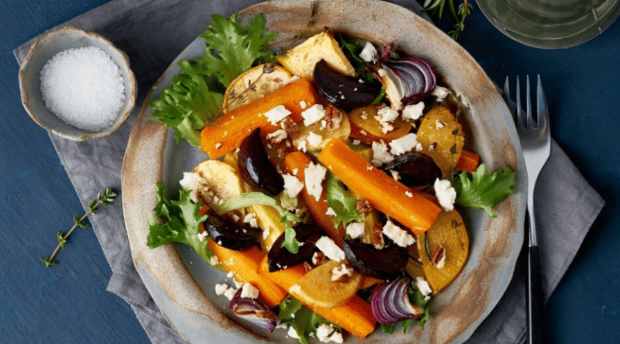 winter salad of roasted root veg and cheese flat lay from above
