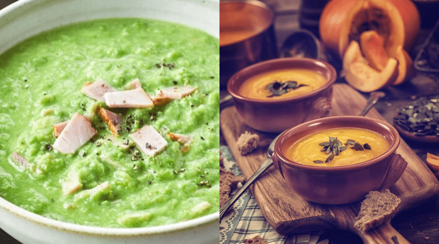 easy winter soups pea and pumpkin
