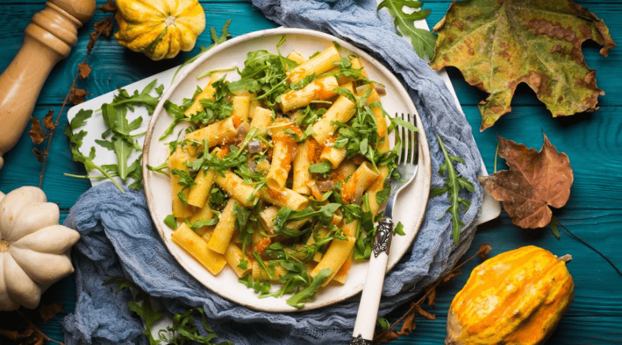 winter squash pasta on a plate in fall or winter setting