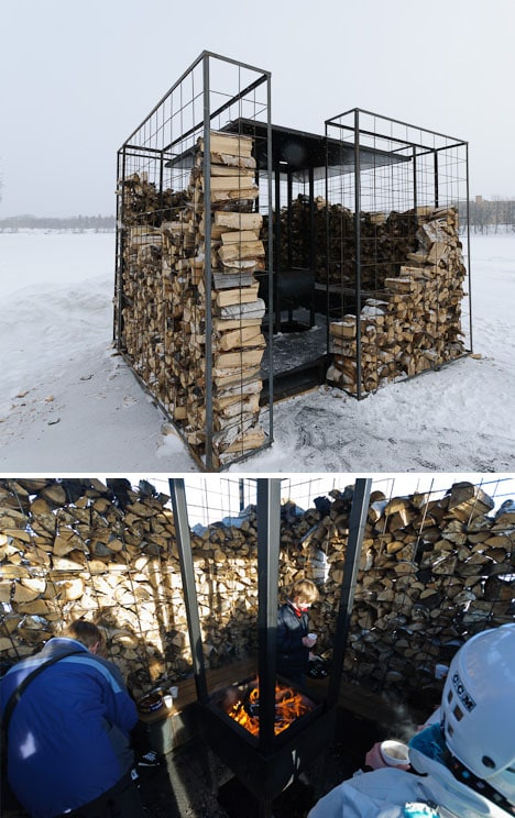 wood storage cabin fire pit design