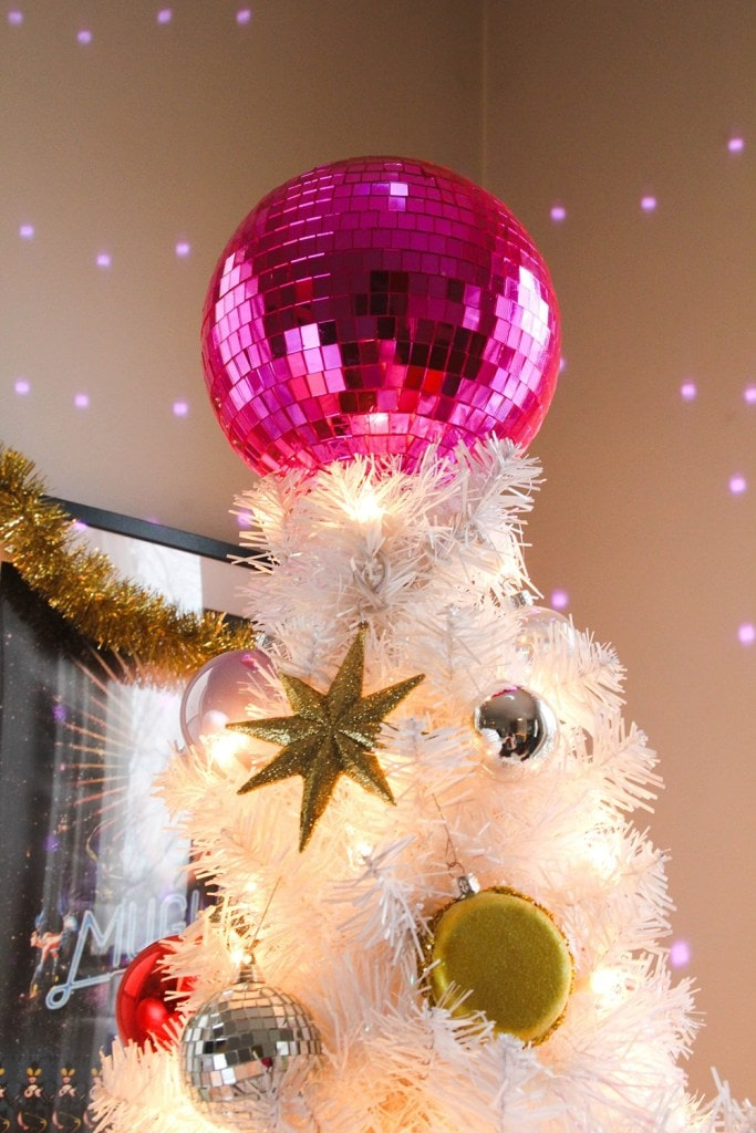 DIY pink disco ball christmas tree topper tutorial