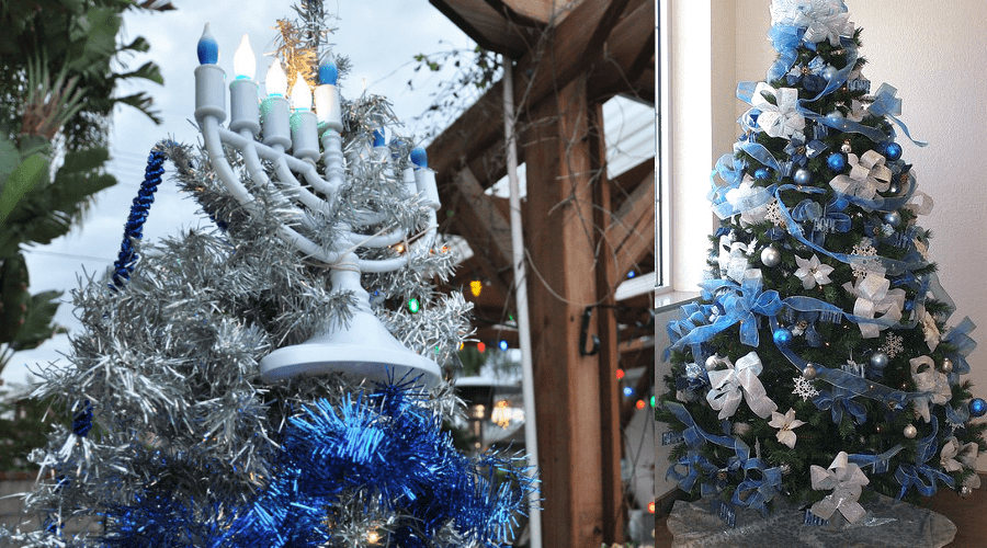chrismukkah trees in blue and white for december tree decor