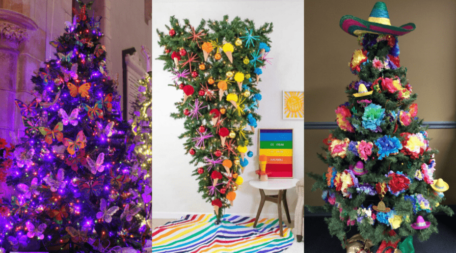 year round christmas tree ideas butterflies rainbow upside down and cinco de mayo