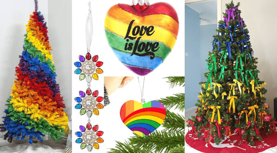 pride month tree decor and rainbow artificial tree