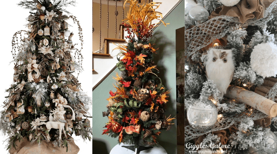fall woodland themed holiday trees