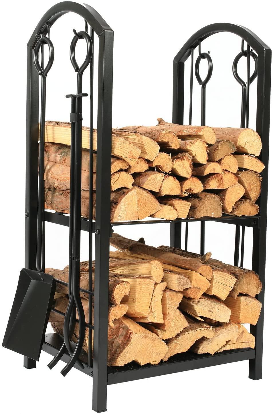 1Go Iron Firewood Log Rack with Fireplace Tool Set
