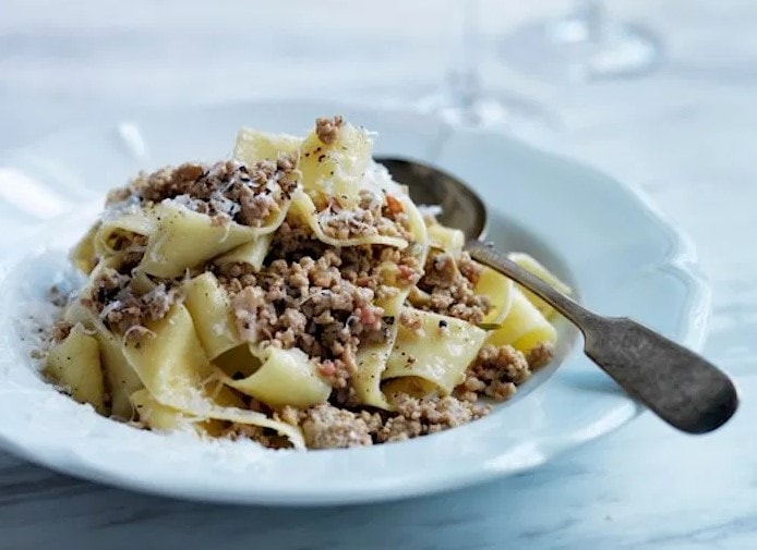 Andrew Carmellini's Pappardelle With White Bolognese Recipe celeriac celery root